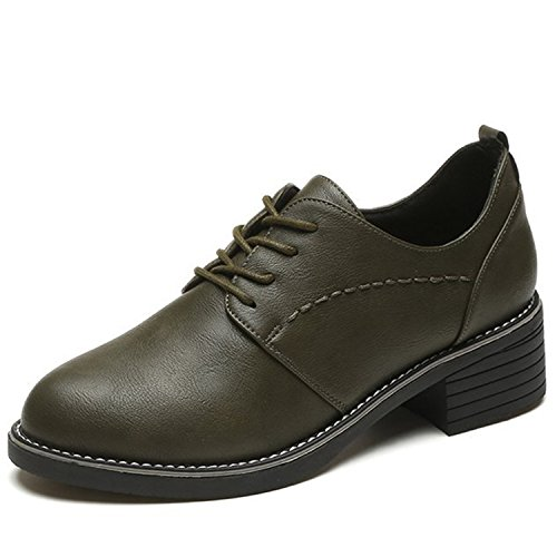 RAINSTAR Womens Casual Lace Up Pu Leather Low Heels Oxford Round Toe Shoes Green
