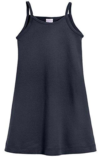 City Threads Little Girls' Summer Dress Cami Camisole Spaghetti Strap Maxi Slip No Sleeve Dress For Sensitive Skin or SPD Sensory Friendly, Navy w/ Matching Stitch, -