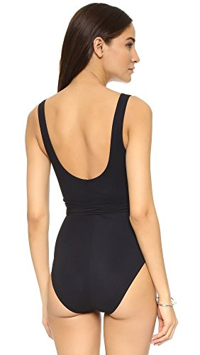 Karla Colletto Women's Wrapped Surplice Neck One Piece, Black, 10