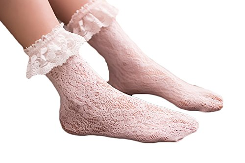 Women Girls Sexy Lace Knitted Floral Anklet Hollow Frilly Ruffle Dress Socks Stockings (Floral Ruffle Socks)