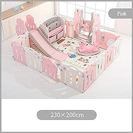 Parque infantil rosa con valla