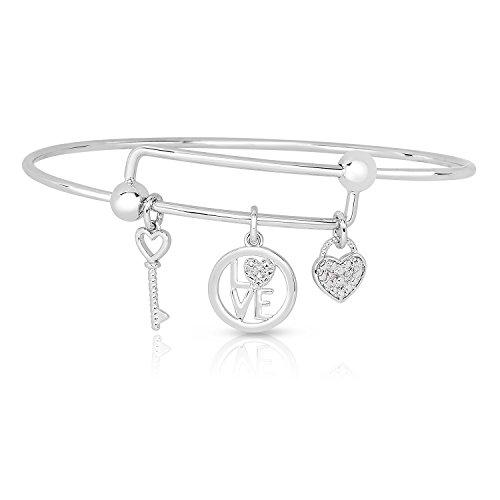 NATALIA DRAKE Expandable Inspirational Jewelry Women Charm Stackable Bracelet Lucky Charm Diamond Accent Bangle (Key to My Heart)