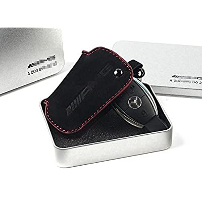 YIKA Genuine Premium Leather Key Fob Cover for Mercedes Benz (Frosted Genuine Leather): Automotive