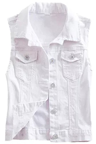 2015 New Short Type Sleeveless Denim Jacket Hole Jeans Vests (Medium, White)