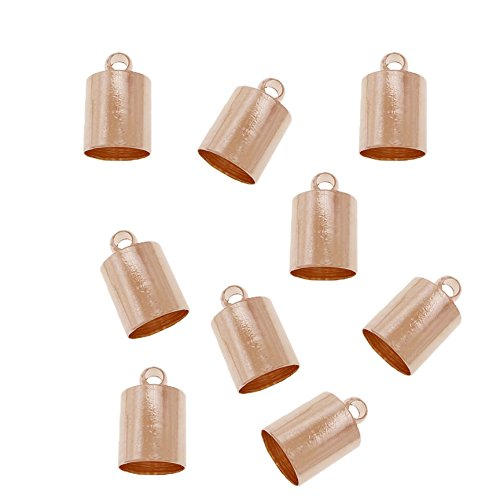 End Cord Plated (48 Copper Plated Brass Cord End Cap 5x9x5mm Inside 4.5mm)