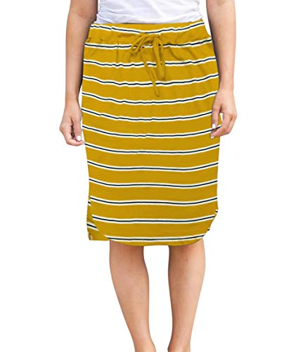Womens Skirts Knee-Length Pencil-Skirts Solid Midi-Skirts for Ladies Stretchy Drawstring Daily Skirts (M (US 6-8), Yellow Stripe)