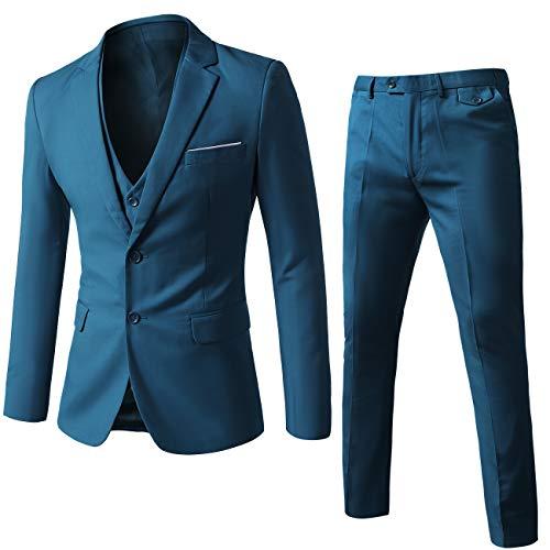 WEEN CHARM Mens Suits 2 Button Slim Fit 3 Pieces Suit Blue