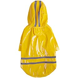 Glumes Cute Dog Hooded Rain Poncho Adjustable and Reflective for Small Medium Puppy Breed