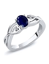 Sterling Silver Oval Blue Sapphire & White Diamond Women's 3-Stone Engagement Ring (0.56 cttw, Available in size 5, 6, 7, 8, 9)