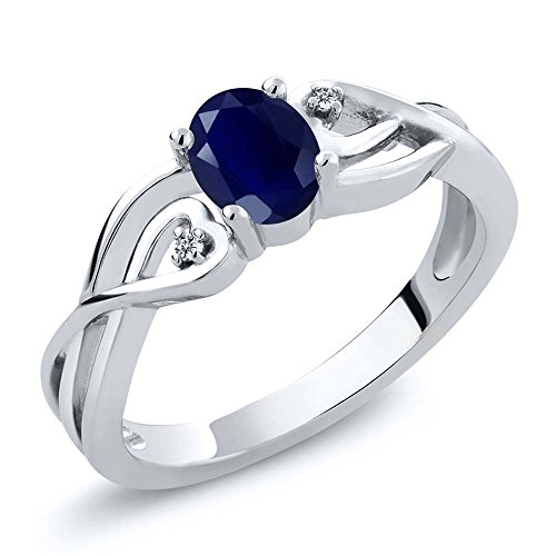 Gem Stone King Sterling Silver Oval Blue Sapphire & White Diamond Women's 3-Stone Engagement Ring 0.56 cttw (Size -