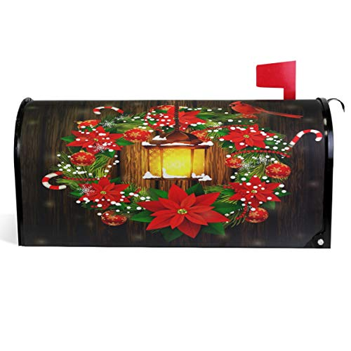 Wamika Xmas Poinsettias Candy Cane Mailbox Cover Street Lights Cardinal Bird Mailbox Covers Magnetic Mailbox Wraps Post Letter Box Cover Large Size 25.5
