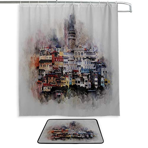 - RH Studio Shower Curtain Set of 2 Galata Tower Istanbul Watercolor Mat Set Waterproof Fabric Bathroom Curtain and Rug Set with Hooks