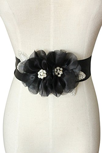 crystals and two organza flowers with special design pearls wedding sashs dress belts A19a (Black)