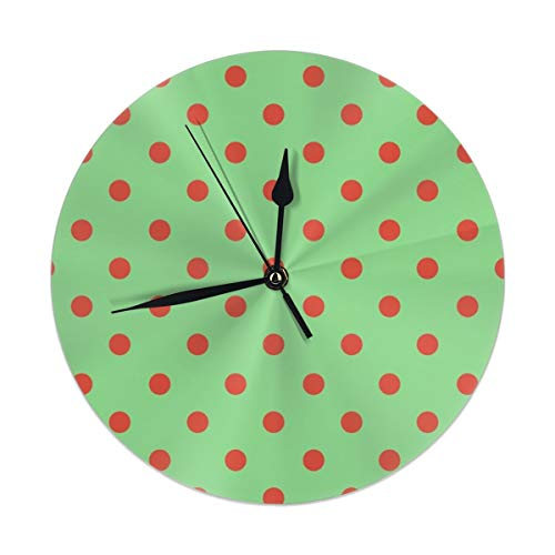 9.8 Inch Round Wall Clock,Polka Dot Lucy's Red and Green Silent Non Ticking Decorative Clocks for Kitchen, Living Room, Bedroom, -