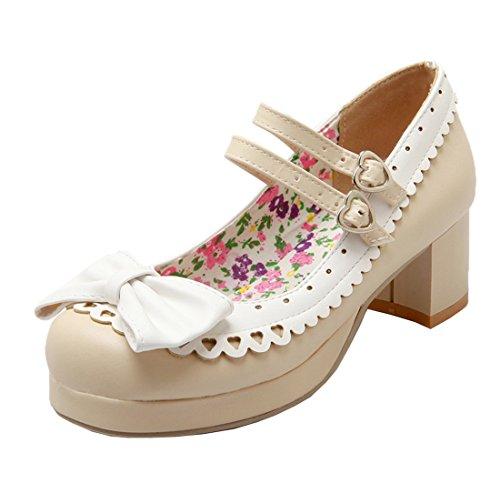 YE Damen Chunky Heel 5cm Heels Retro Schnalle Pumps mit Riemchen Bequem Blockabsatz Schleife Schuhe Beige