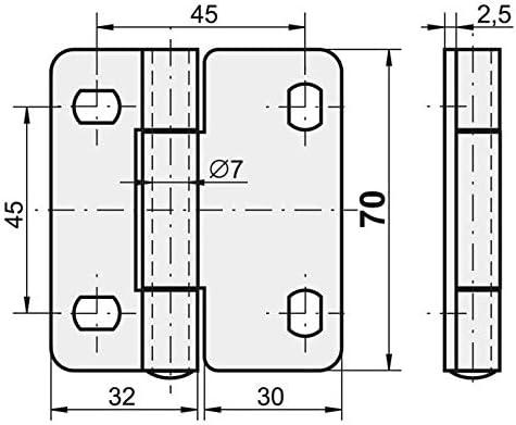 bisagra de puerta enrollada para puerta seccional acero galvanizado 2 unidades KOTARBAU Bisagra de chapa 2 alas 70 x 62 mm