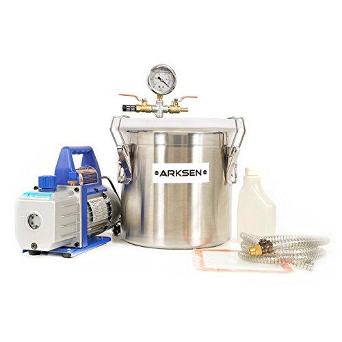 ARKSEN 3Gallon Vacuum Chamber, 4 CFM Vane Vacuum Pump Epoxy Silicone Resin Mold Extract