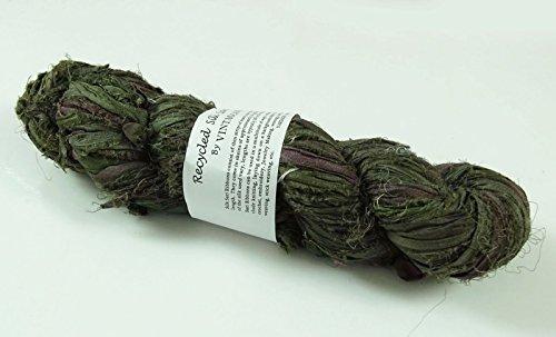 Olive Green Silk Sari - 1
