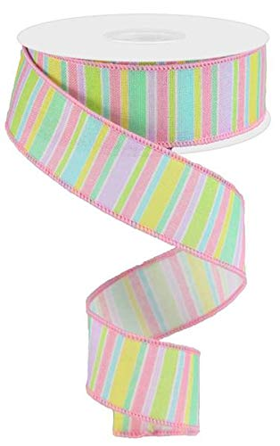 Economy Easter Wired Fabric Craft Ribbon Variety Pack Bundle 6-Roll Set 2.5 Inches by 3 Yards Each Solids and Patterns