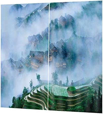 QinKingstore lassicウォッシャブル印刷カーテンドアカーテンホームベッドルームリビングルームカーテンホテル装飾カーテン150 * 166センチ