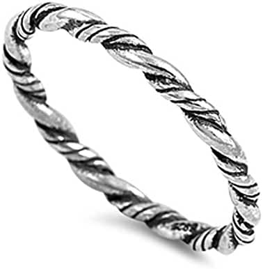 Rope Eternity Braid Bali Thumb Ring New .925 Sterling Silver Band Sizes 3-10