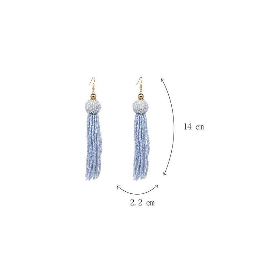 JG Beaded Earrings Elegant Soriee Dangle Bead Ear Drop Bead Tassel Earrings for Women Girl 5.5 Inches