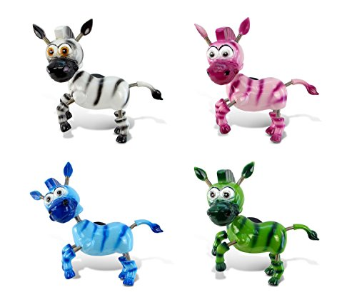 3d Magnet (Puzzled Zebra Refrigerator 3D Bobble Head Magnet - Assorted Colors, Set of 4 - Unique Affordable Gift and Souvenir - Item #7902)