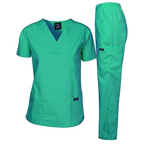 Dagacci Scrubs Medical Uniform Women and Man Scrubs Set Medical Scrubs Top and Pants, Hospital Green…