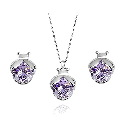 Ladybugs Purple Violet Zirconia Crystals Set Pendant Necklace Stud Earrings 18 ct White Gold Plated for Women