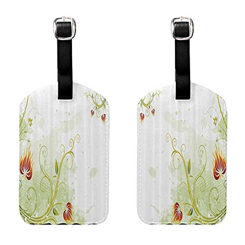 Suitcase Name Floral,Swirled Petals Lines on Grunge Background Retro Scroll Botany Design,Light Green Pistachio Ruby Luggage Tags - 2 Pack ()