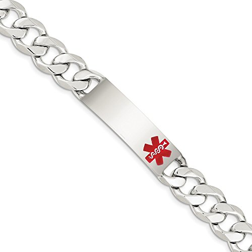 Solid 925 Sterling Silver Engravable Plate Polished Red Medical Caduceus/Rod of Asclepius Curb Cuban Link ID Bracelet - with Secure Lobster Lock Clasp 8.5