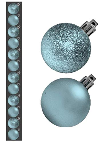 12 x 3cm Mini Christmas Baubles - BABY BLUE - ICE BLUE - Assorted Matt + Glitter by Christmas - Ice Garland