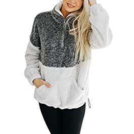 Women's Long Sleeve Contrast Color  Sherpa Pile Pullover
