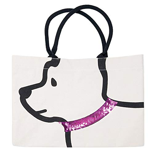Best Friend Dog with Sequin Collar Tote bag Assorted (Pink)