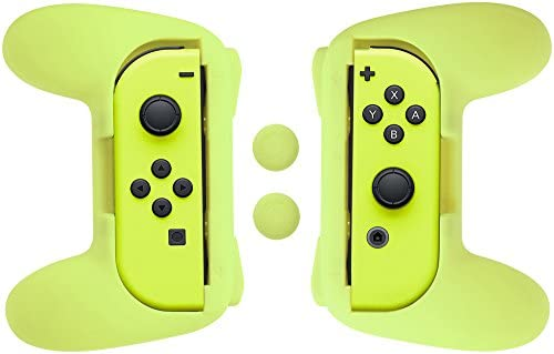 AmazonBasics - Kit de empuñaduras para mandos Joy-Con de Nintendo Switch - Amarillo neón: Amazon.es: Videojuegos