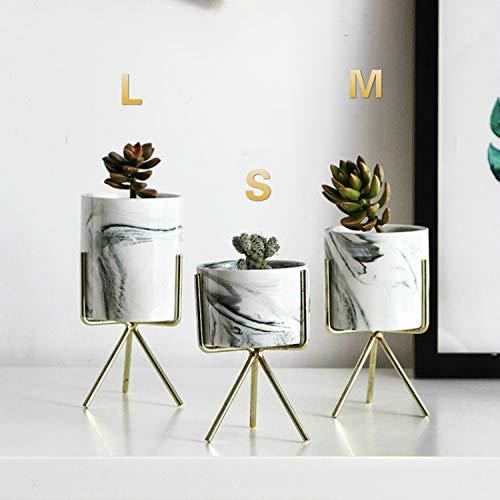 Linzhen Ins Gold Plated Flower Pot Wrought Iron Vase Simple Iron Frame Fleshy Flower Pot Marble Pattern Flower Pot Water Flower Set -