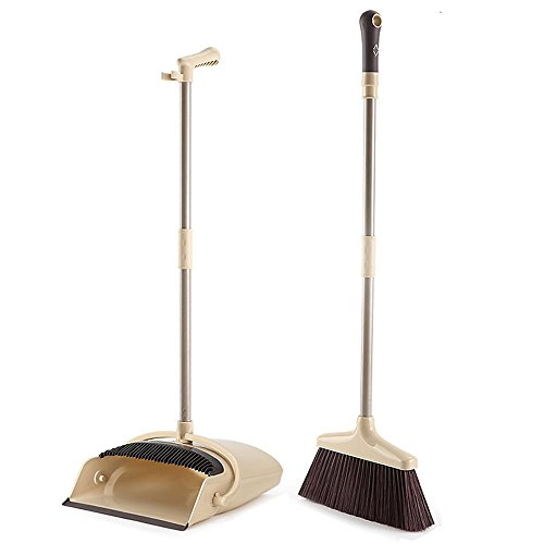 Upright Dust Pan Broom (Broom and Dustpan, TreeLen Broom and Dust Pan with Long Handle, Standing Upright Grips Sweep Set with Lobby Broom(Brown))