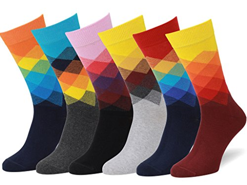 Easton Marlowe Men's Women's Colorful Fun Patterned Socks - 6pk #30, bright gradient - 39-42 EU shoe size
