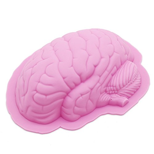 Neomark Halloween Party 3D Human Brain Silicon Mold Ice Cube Tray Jello Chocolate Mold Cake Fondant Mold, Cake Decoration Tools, Soap, Candle Mould (Pink) -