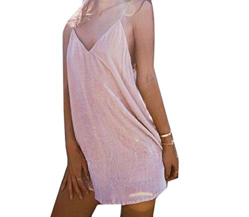 Coolred-femmes Bechwear Fines Bretelles Velours Robes D'été Pink