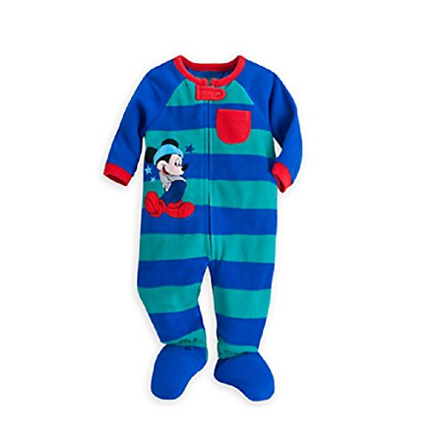(Disney Store Mickey Mouse Stars & Stripes Blanket Sleeper Pajamas for Baby, Blue, 3-6 Months)
