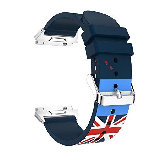 Komise Mode Drapeau Bloc de couleur souple en silicone Bracelet Bracelet de rechange pour Fitbit ionique