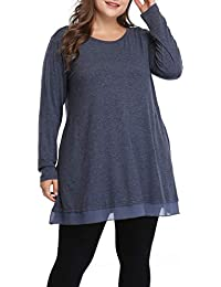 Women Plus Size Spring Shirt Graceful Lace Tunic Long...
