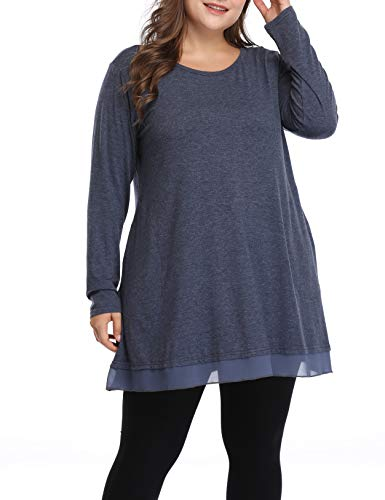 Women's Flowy Plus Size Tunic Shirts Long Loose Fit Tops for Leggings (Blue, 3X)
