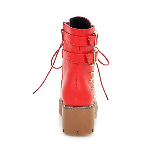 AllhqFashion Mujeres Tacón Grueso Caña Media Sólido Cremallera Botas con Tachuelas Rojo