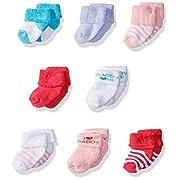 Luvable Friends Unisex 8 Pack Newborn Socks, Pink/Daddy, 0-6 Months
