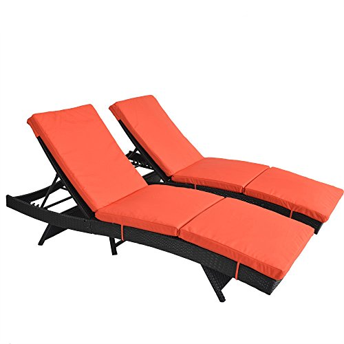 Patio Lounge Chair Garden Black Rattan Chaise Lounge Outdoor Wicker Deck Chair Adjustable Cushioned Chaise Lounge Home Patio Chair(Orange Cushions,Set of 2) from Outime