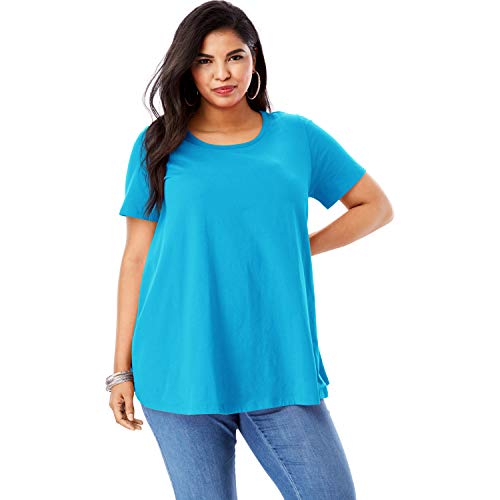 Roamans Women's Plus Size Trapeze Ultimate Tee with Keyhole Back