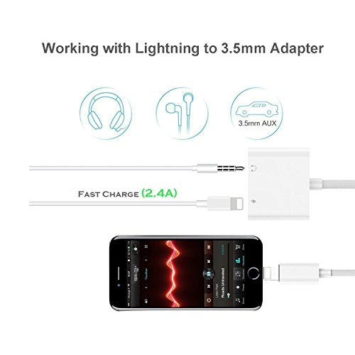 Lightning Jack Headphone Adaptor Charger for 8/8 Plus iPhone 7/7 Plus/iPhone X 10/iPad/iPod Earphone Adapter Headphone Aux Audio & Charge Adaptor,Connector Lightning Cable Suppor iOS 11 System by iNassen (Image #5)