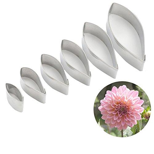 (KALAIEN 6pcs/set Dahlia Sugar Flower Cutter Set Fondant Cake Sugarcraft Decorating Tools)